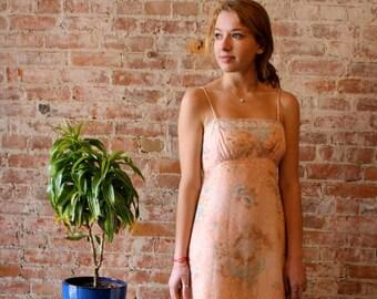 60s Peach Flower Maxi Dress - Floral Print - Lined - Prom - Sundress - Spaghetti Straps - Empire Waist -