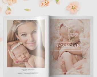Newborn Photography Magazine Template, Photography Magazine Template for Photoshop, Digital Magazine Template - NM102