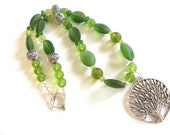 Tree of life necklace - green glass necklace, green glass jewelry, nature jewelry