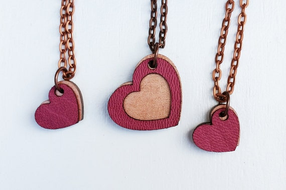 Mother & 2 Daughters Necklace Set - Mother's Day Gift - Mothers Day - Heart Pendants Set - Copper and Pink - Gift for Mom - Mothers Necklace