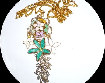 Enamel flowers and gold leaves necklace
