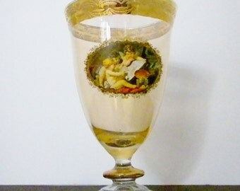 Murano Glass Goblet, Made in Italy, Gold Trimmed Goblet