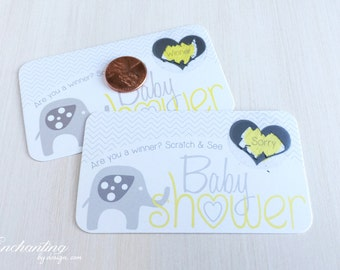 10 Baby Shower Scratch off Game Cards - Yellow Elephant
