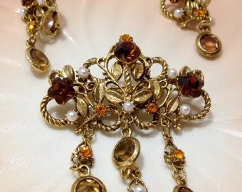 Orange and Brown Rhinestone Brooch and Clip Earrings