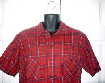 Vintage 50s plaid shirt / loop top collar / button up camp short sleeve / rockabilly mad men rat pack ... M L / chest 46