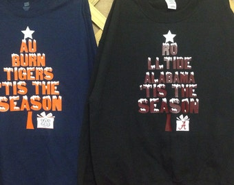 Auburn and Alabama Christmas Shirts