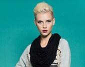 Black wool scarf - Statement necklace scarf -  Oversized black scarf - Black bib necklace - Necklace scarf