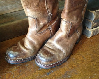 Frye Brown Leather Biker Boots, Distressed Cigar Riding Boots, Size 7 or 7,5 US 5 UK