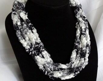 Silver Screen Crochet Ribbon Necklace - Black, White and Silver