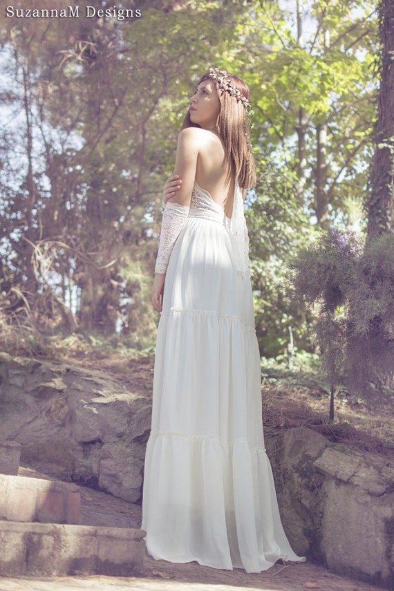 Lace and Chiffon Vintage Wedding Dress Ivory Bridal Long Gown Boho Long Bridal Gown - Handmade by SuzannaM Designs