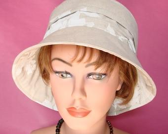 Summer Hat Sun Hat Womans Hat Cloche - Garden Hat- Beach Hat - Linen Hat  - creme