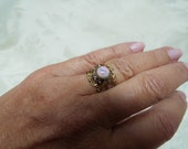 Vintage Pink Fire Opal on Victorian Style Filigree Ring Base, Upcycled