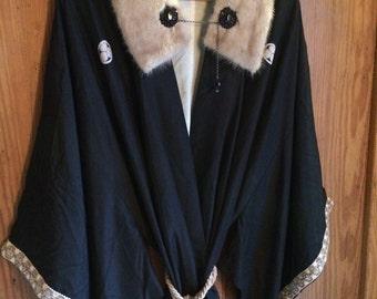 Thora-Vintage Kimono, Black Silk, Ivory Lined, Subtle Print, Fur Collar, Chain Wrap, Braided Trim, Black Glass Crystals, Tassel Belt