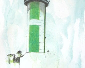 Lighthouse Benodet fire or the Pyramid--Phare du Coq Bénodet-- Green and White Lighthouse