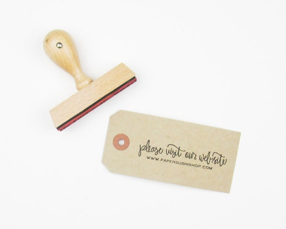 """Personalized Wedding Calligraphy Stamp - Please Visit Our Website 3"""" rubber stamp personalized with your wedding web site URL"""
