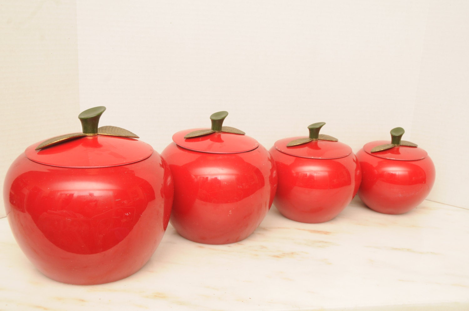 red apple metal kitchen canister set