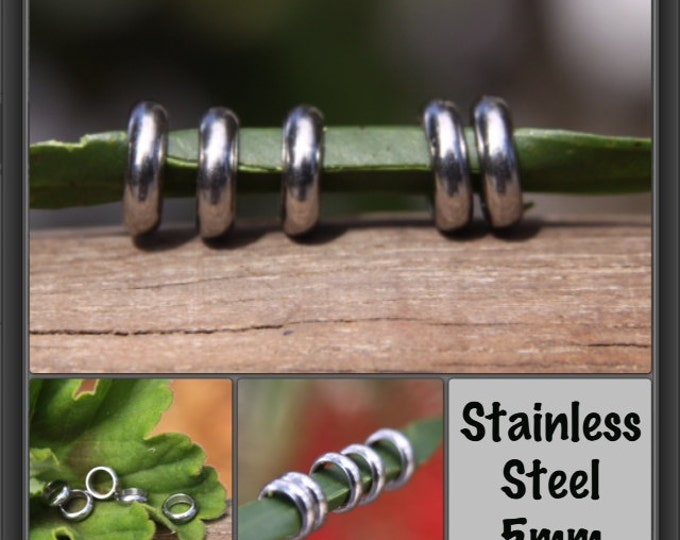 10 Stainless Steel Rings Dreadlock Beads 5mm 3/16' Hole