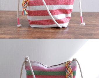 Katie Rainbow - colourful linen small shoulder bag
