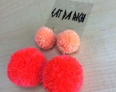 30 + Colors Available - Handmade Two-Tone Pom Pom Earrings - Choose Your Color(s) - Lightweight