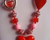 Necklace - Chunky Necklace - Red Pink & Silver Necklace - Heart Necklace - Sparkling Necklace - Valentine Necklace - Boutique Necklace