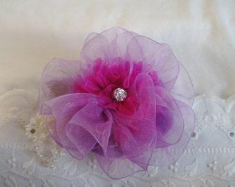 Lavender & Fuchsia Organza Flower Hair Clip - Delicate Flower Hair Clip - Spring/Summer Hair Clip - Flower Pearl Hair Clip - Boutique Clip