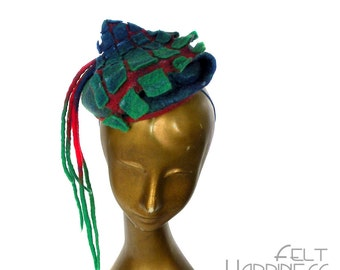 Colorful Derby Fascinator - Geometric Pattern Tartan Hat in Red Green Blue with Long Dreads - Mother of the Bride