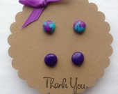 Clay Earring Sets- Purple and Blues