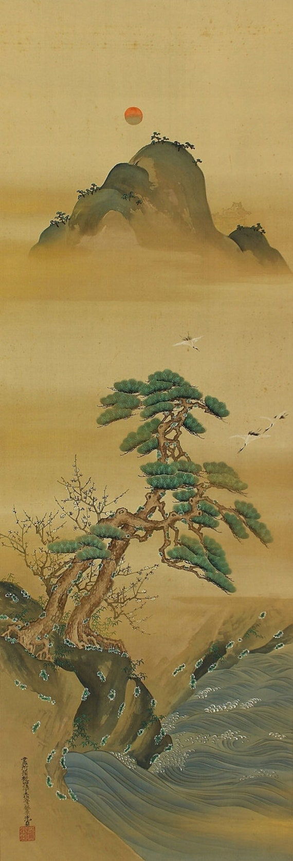 Antique Japanese Fine Art Painting Wall Hanging Scroll Landscape Mt. Penglai Kakejiku – 1408076