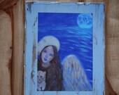 Original 7 x 9 Child Angel- Kitten Distressed & Painted Wood-Print Inspirational-Child's Decor-Nursery-Animal Angel-Earth Angel-Blue- Equine