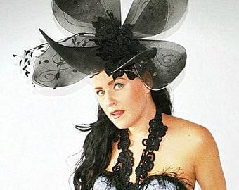 Black Butterfly,Derby,Royal Ascot,Race day,Fascinator,headpiece,Flower hat,High fashion,headpiece,headdress,hat, Giant headpiece,