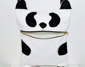 Happy Panda Bear Messanger Bag / Cross Body Bag / Felt Messanger Bag / Bear Bag / Felt Bag