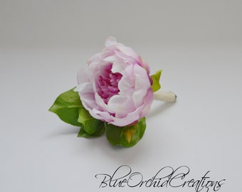 Peony Boutonniere - Lavender Peony Boutonniere, Peony Bout, Button Hole, Groom, Groomsmen