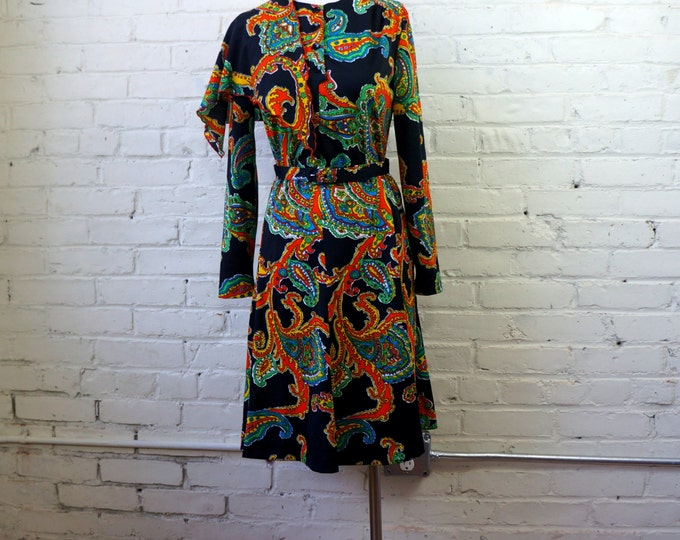 Black Paisley Dress Set 1960s Vintage Fit and Flare Top Skirt Belt Scarf SMALL Matching Separates & Accessories Piece Bohemian Hippie