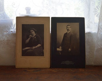 Antique Victorian pictures cabinet cards black and white photographs man and woman portraits