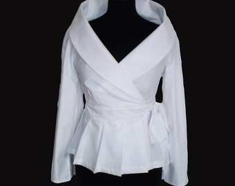 Wrap White shirt  cotton blouse/ Smart casual Work/ Career shirt for women Custom  made by FedRaDD