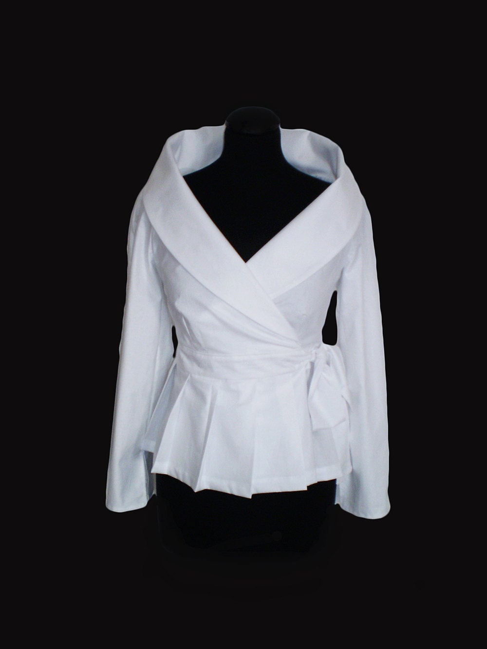 Wrap White shirt cotton blouse/ Smart casual Work/ Career