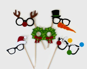 Holiday Photo Booth Prop Glasses. Awesome Christmas Photobooth Props