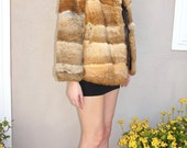 Vintage Brown Fur Coat, Genuine Fur Coat, Warm Winter Coat with Front Pockets, Soft Fur Coat