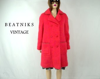 Vintage 50's Coat Large Vintage Mohair Coat Large 50's Peacoat Pink and Orange Coat Coat 60's Coat Retro Coat 50's Century Clothing XL