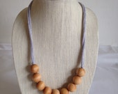 Natural Wood 20mm Bead Necklace Organic, Burnout Grey Knit Cording, nursing necklace, teething necklace, baby safe, grey necklace