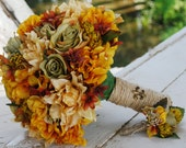 Silk bridal bouquet, rust, beige, mustard hydrangeas, pale turquoise roses, fall, matching boutonieer