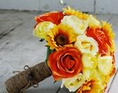 Silk bridal bouquet, sunflowers, yellow roses, orange roses, yellow ranunculus