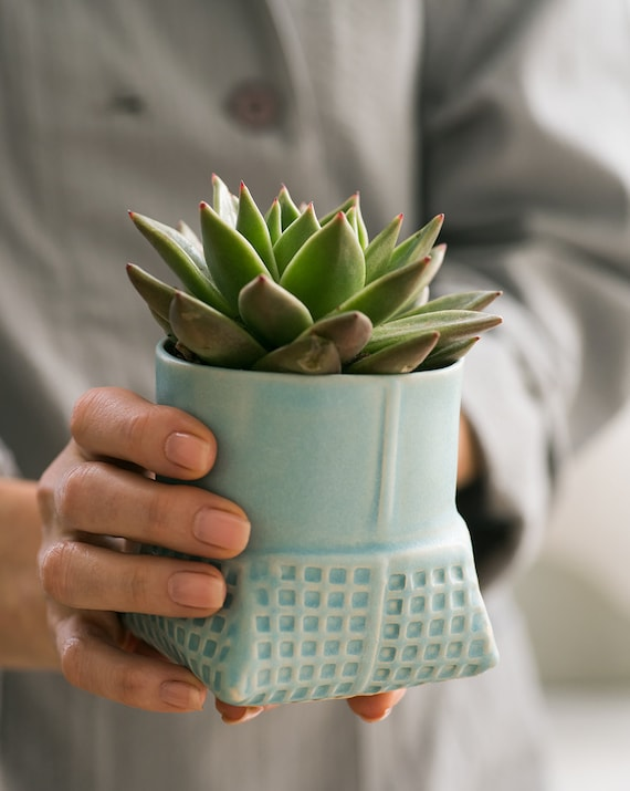 Geometric ceramic Planter ,turquoise succulent planter , modern ceramic planter , blue patterned vase , Air Plant Pot, ceramic flower pot