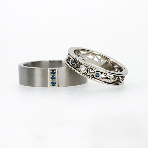 teal and white diamond wedding ring set by TorkkeliJewellery