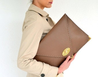 Leather brown large  clutch / Handmade leather bag / Pale brown cow leather