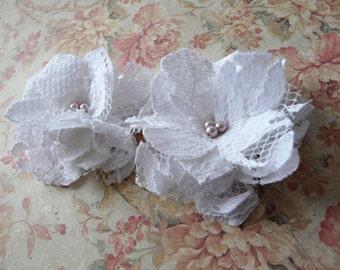 Wedding Hair Pin, Lace Bridal Hair Flowers, White Bridal Flower Clips, Flower Bobby Pins, Petite Hair Flowers, Lace Hair Pin