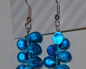 Turquoise blue glass bead dangle earrings