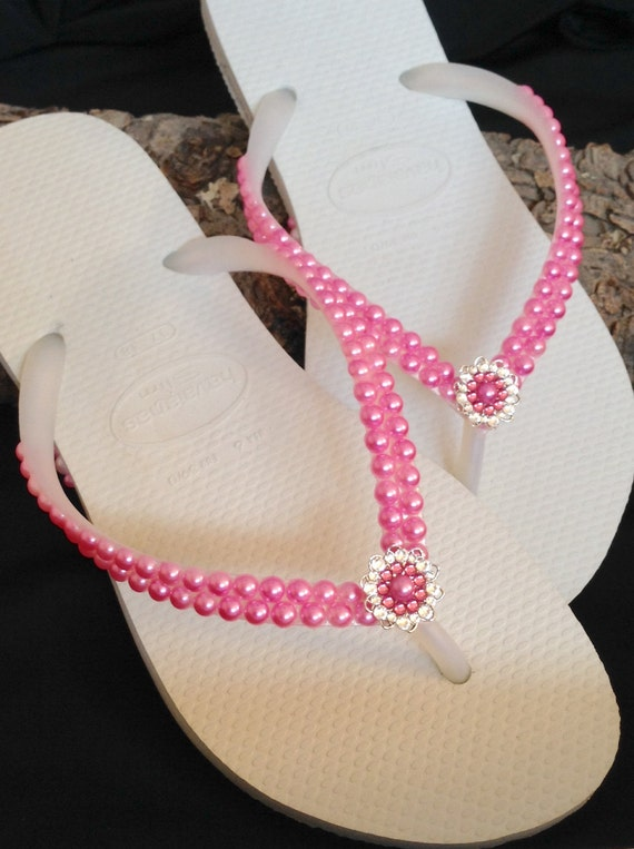 Pearl Bead Flip Flops Custom Havaianas Slim Rose Pink w/ Swarovski Crystal Rhinestones Silver Filigree Bridal Bridemaid Beach Wedding shoes