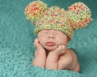 Newborn Baby Hat Baby Girl Hat Baby Boy Hat Newborn Photo Prop Photography Prop Tutti Frutti Pom Pom Baby Hat Pom Pom Hat Baby Ear Hat