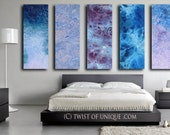 Oversized Watercolor Painting / CUSTOM 5 painting set  (48x15) Industrial abstact painting / Bedroom painting/ blue, purple, white, indigo